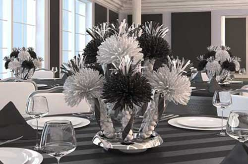 Black and White Bar Mitzvah Centerpiece