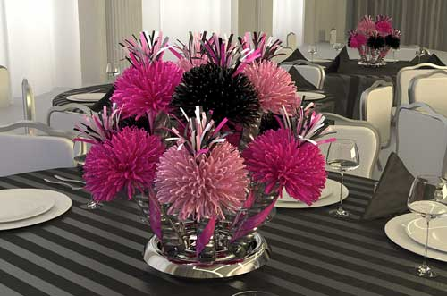 Pink and Black Sweet 16 Centerpiece