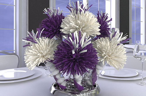 Purple and White Wedding Centerpiece
