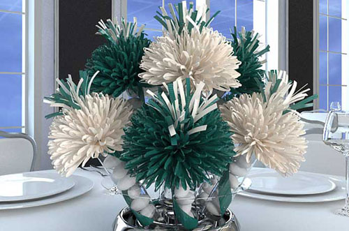 Teal and White 50th Birthday Centerpiece
